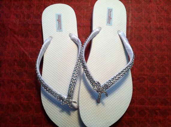 So Sweet Bride Angela Deluxe Rhinestone Starfish Bridal Wedding Flip Flops