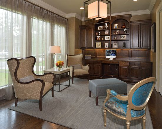Decorating, Cool Transitional Home Office With Cool Square ...