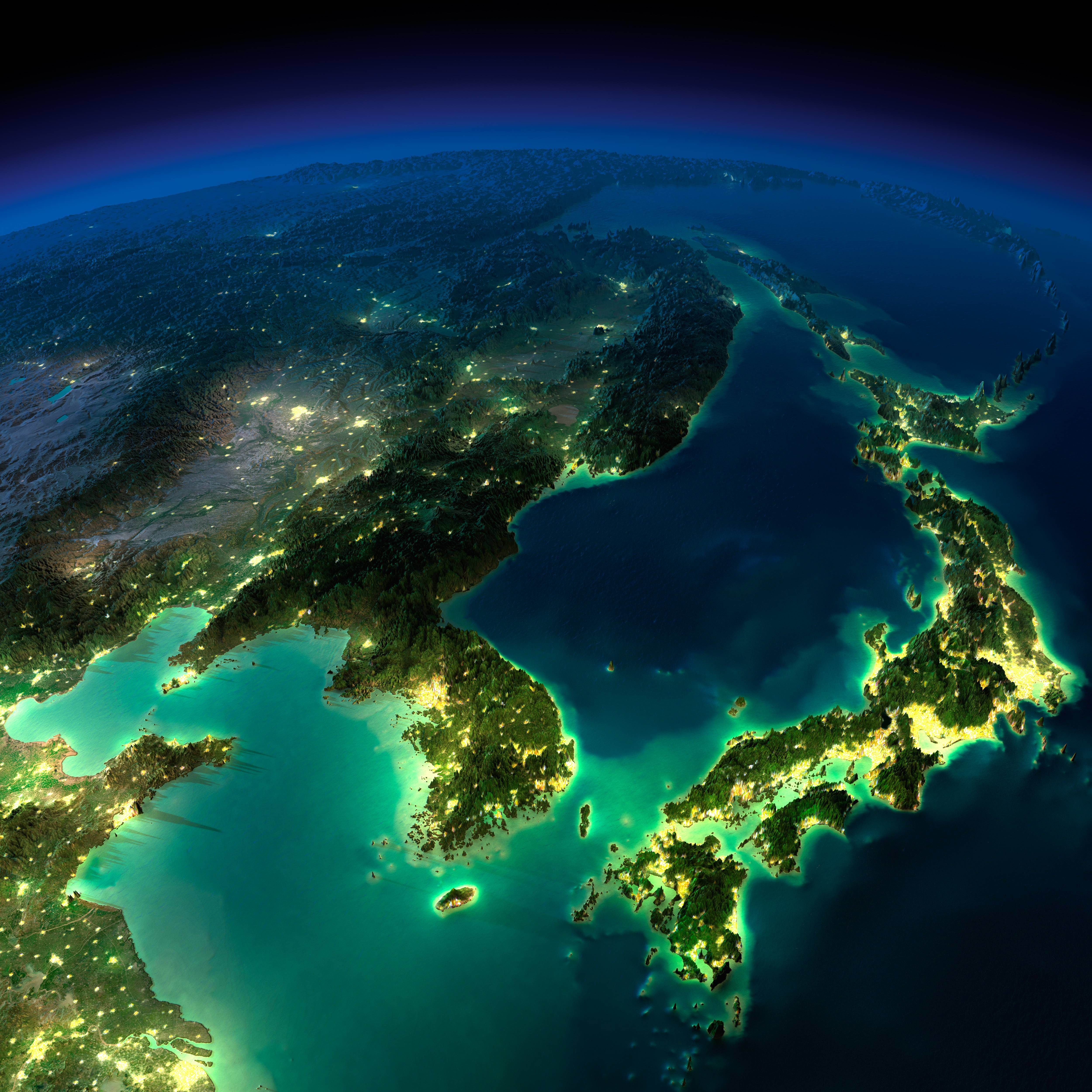 Aerial Map Of Japan.Exaggerated Relief Map Of Japan Korea Northeast China And Far East
