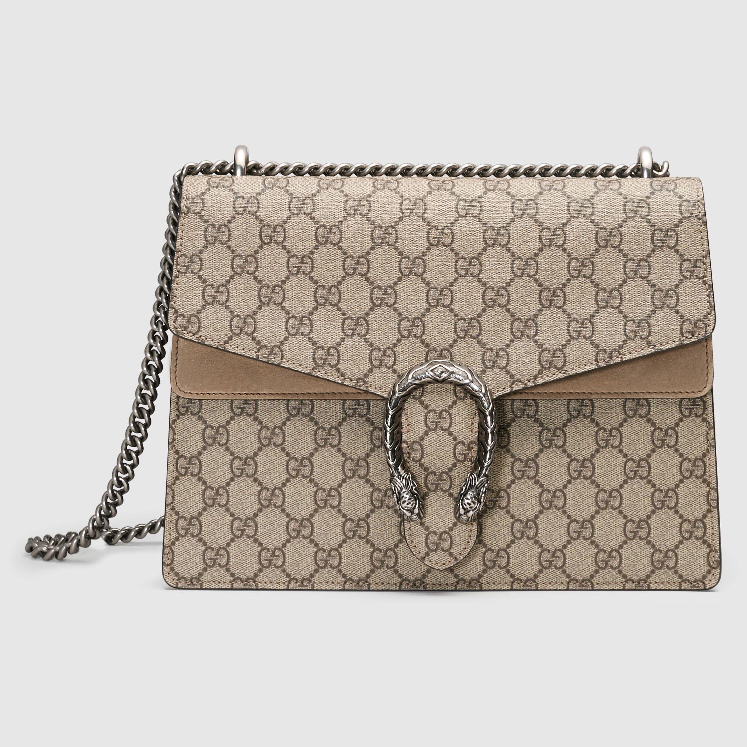 d9d1b8e7fa0 Gucci Women - Gucci Dionysus Beige Ebony GG Supreme Canvas shoulder bag w  taupe suede detail -  2