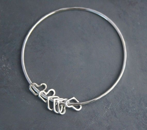 weight heart bangles hearts width sterling bangle mm p cz length grams bracelet silver
