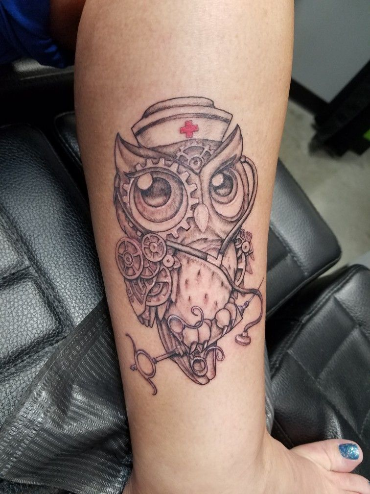 My New Nurse Owl Tattoo Just The Right Mix Of Steampunk New School Owl Love Her Forever Nurse Tattoo Steampunk Tattoo Owl Tattoo Drawings