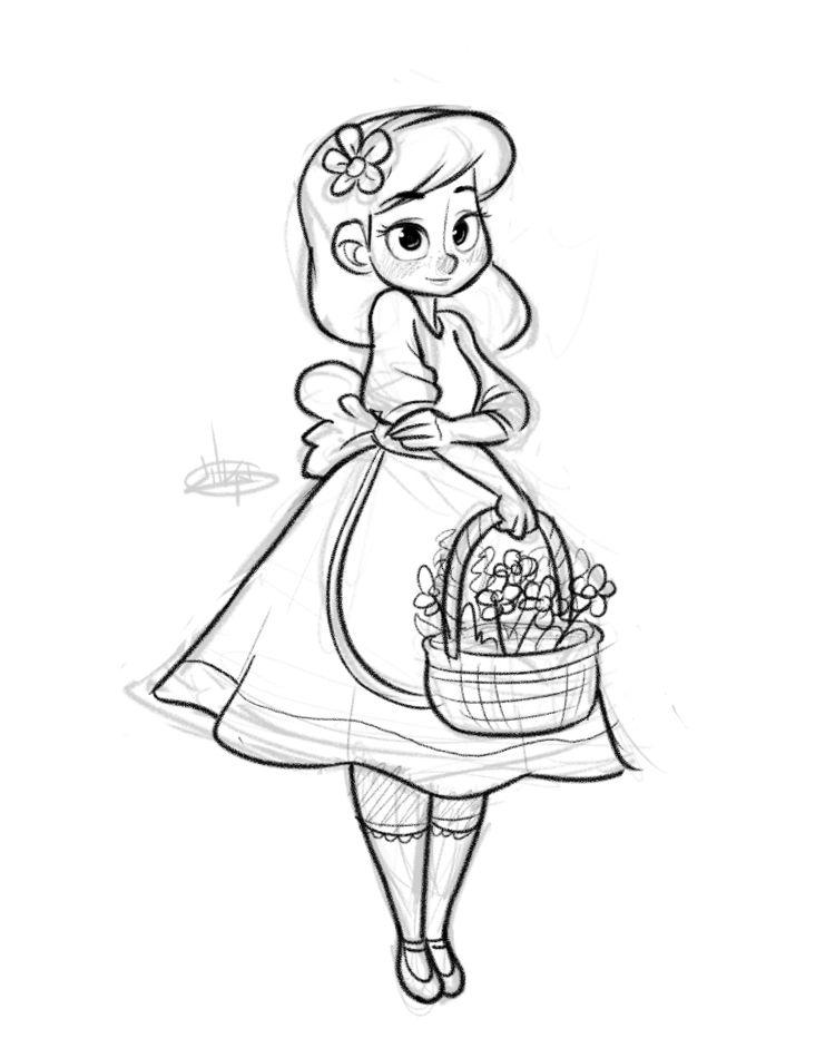Garden Girl Sketch - Luigil | Art and awesoness | Girl ...
