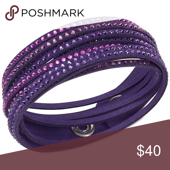 Swarovski Slake purple bracelet Leather slake bracelet with Swarovski  crystals, purple. Very good condition