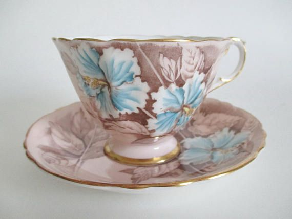 Paragon Footed Tea Cup & Saucer Blue Hibiscus on Buff Gold