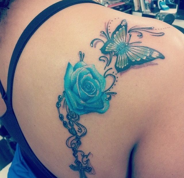 Blue rose and butterfly | Tattoos, Watercolor tattoo, Butterfly