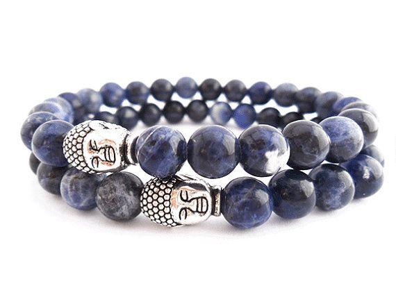 Mens Beaded Bracelet Buddha With Navy Blue By Donasy 19 50