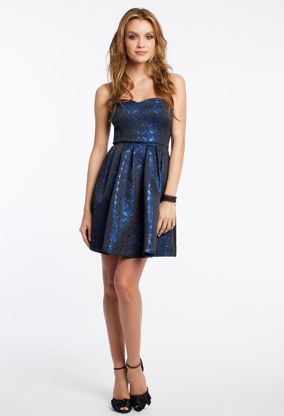Blue Metallic Strapless Holiday Dress #holiday #dresses #party ...