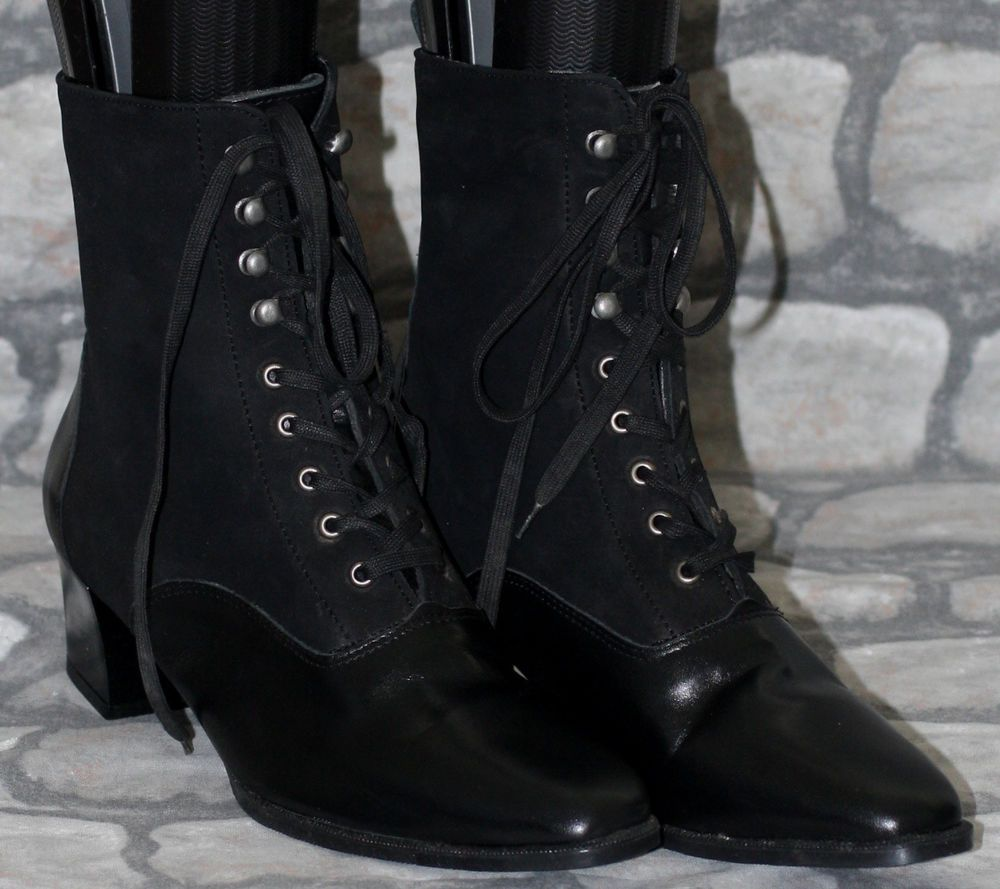 Black Leather Victorian Lace Up Ankle