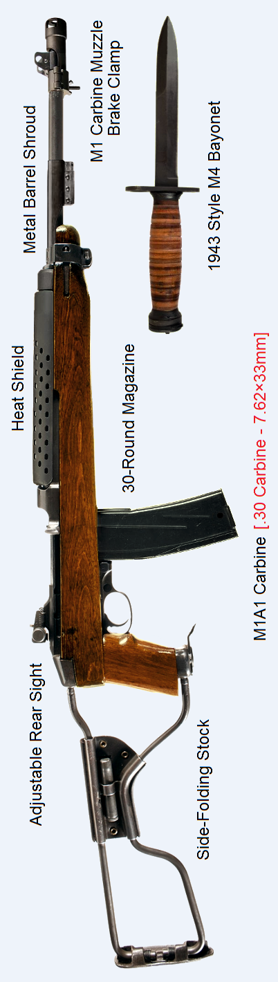 M1a1 Carbine With Side Folding Stock 1943 Style M4 Bayonet 30