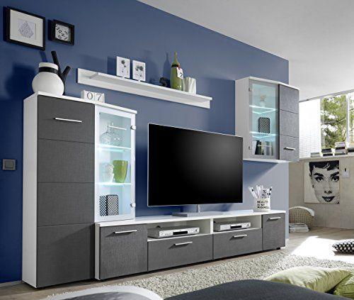 AVANTI TRENDSTORE - Wohnwand aus Seidenoptik grau und wei  Dekor - wohnwand wei modern