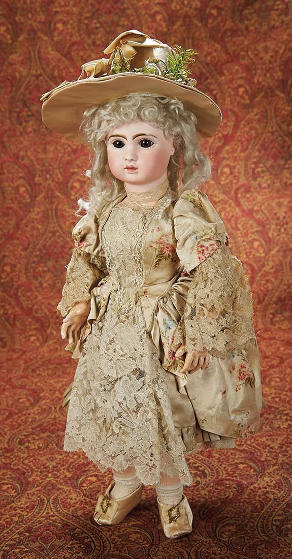 Beautiful French Bisque Lady Doll by Jules Steiner in Original Silk Costume