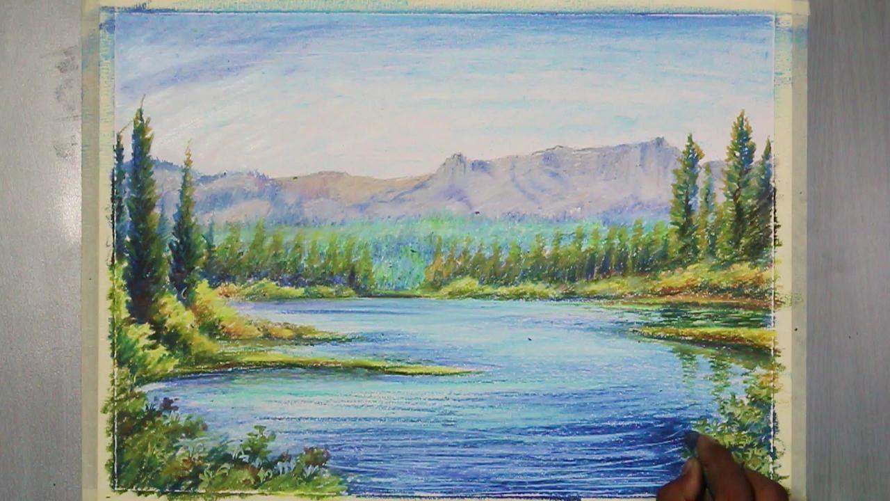 How To Paint An Oil Pastel Landscape Tutorial Oil Pastel Landscape Pastel Landscape Oil Pastel Paintings
