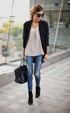 Schwarze strickjacke outfit