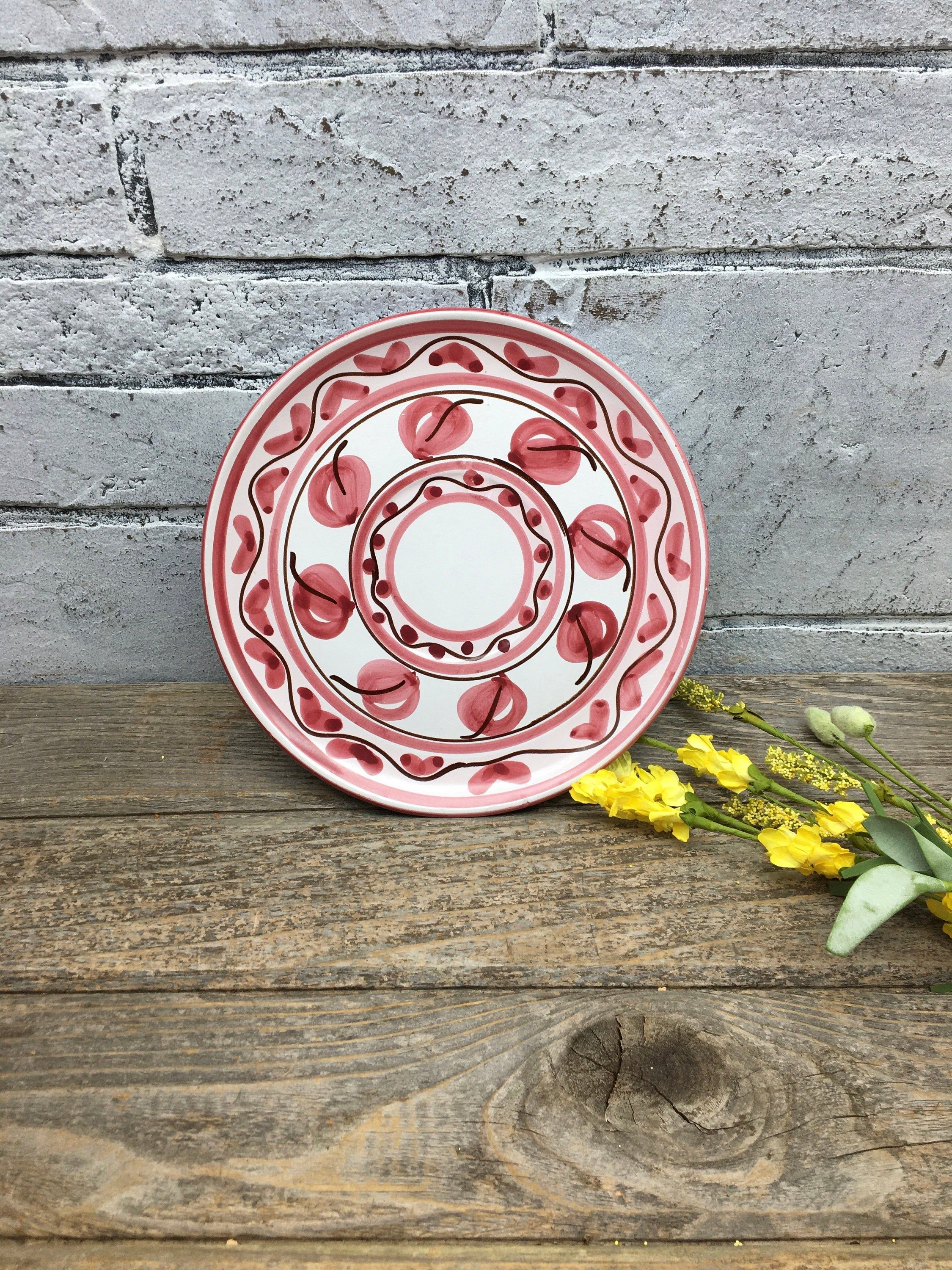 Italian Pottery Decorative Plate Hand Made / Hand Painted Pink Rim Signed & Numbered Plate Display Wall Decor stoneridgeattic