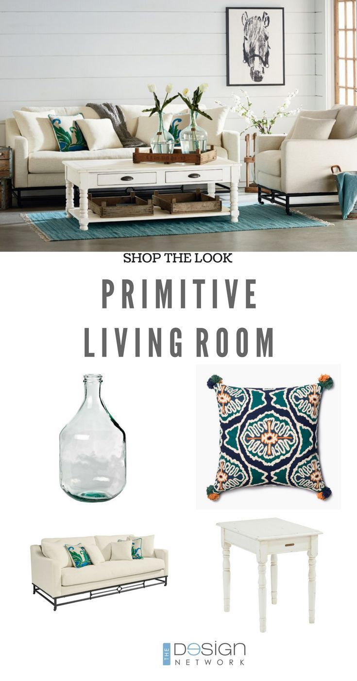 Shop the Look: White Primitive Living Room | White + Teal Bright ...