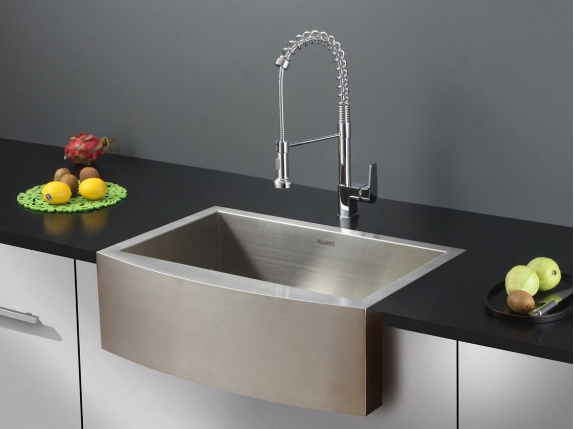 36 ruvati stainless steel apron front farm sink rvc1451