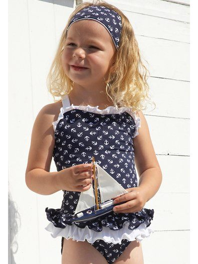 e3390917d7 Mitty James Navy Anchor Print Frilly Swimsuit. 18 months-8 years. £24.99