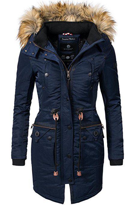 buy popular a9c23 74da1 Marikoo Damen Mantel Wintermantel Winterparka Mangala Blau ...