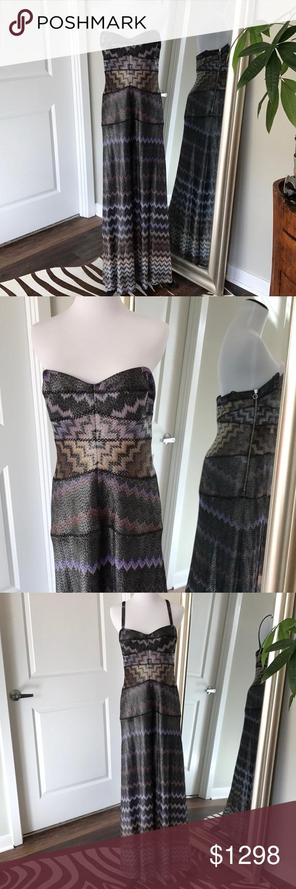 Missoni evening gown! Orange label 44! Metallic   Long evening gowns ...