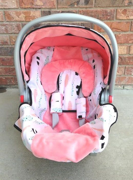 Seat Belt Covers Pink Feathers Grey  Car Seat Highchair Stroller Pram Handmade