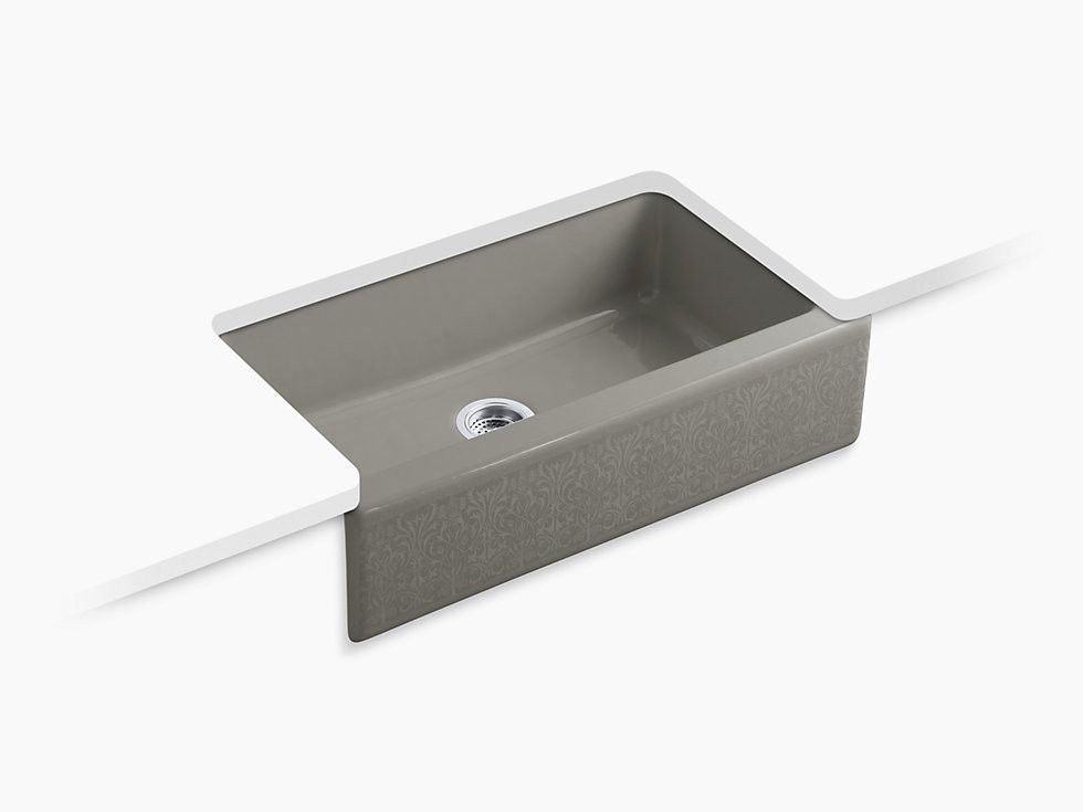 Kohler K 14579 Kg Dickinson Alencon Lace 33 Cast Iron Farmhouse Kitchen Sink Sink Farmhouse Sink Kitchen Cast Iron Farmhouse Sink
