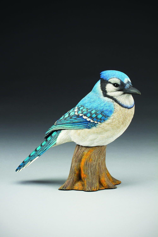 Eastern blue jay wood carving pattern