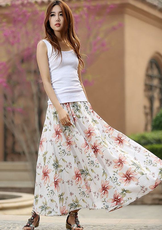 6e9cfca0c1e long floral skirt - women long skirt with elastic waist summer skirt -  custom made (950)