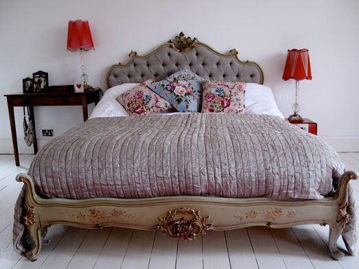 ooo love this bed - gustavian bed, velvet headboard, sophisticated grey, folky pillows for contrast