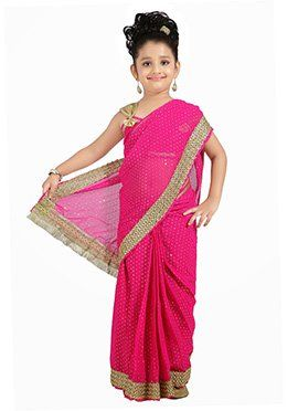 6caa2efba Dark Pink Kids Readymade Saree