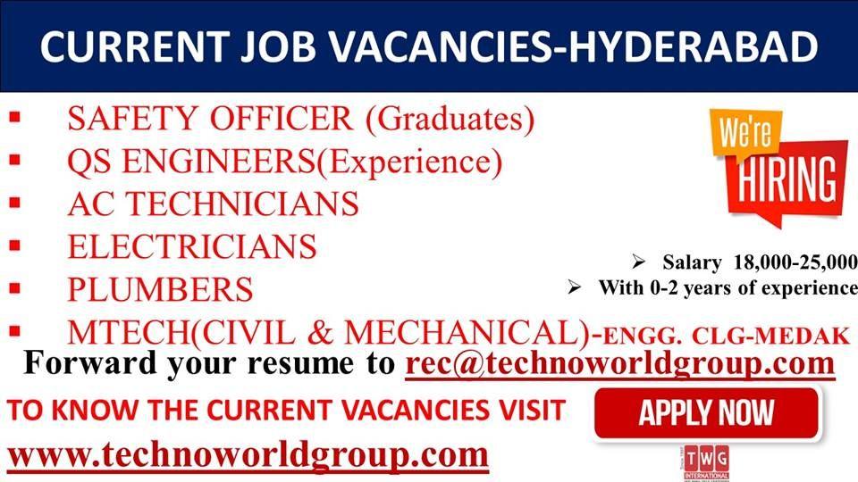 CURRENT #JOB #VACANCIES-#HYDERABAD #Salary 18,000-25,000