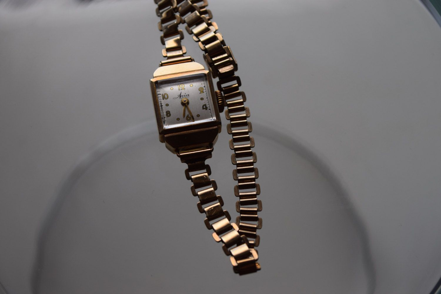Art Deco AVIA Dennison Made in England 9 ct  375 adjustable strap gold watch by MavenCurio on Etsy