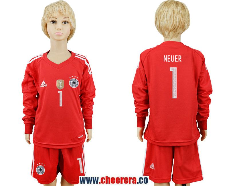4e7733f8dac ... country jersey  germany 1 neuer red goalkeeper 2018 fifa world cup  youth long sleeve soccer jersey