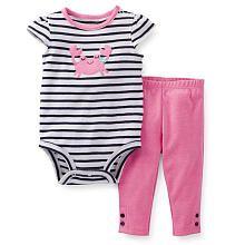 Carter's Girls 2 Piece Cute Crab Applique Striped Cap Sleeve Bodysuit and Pant Set