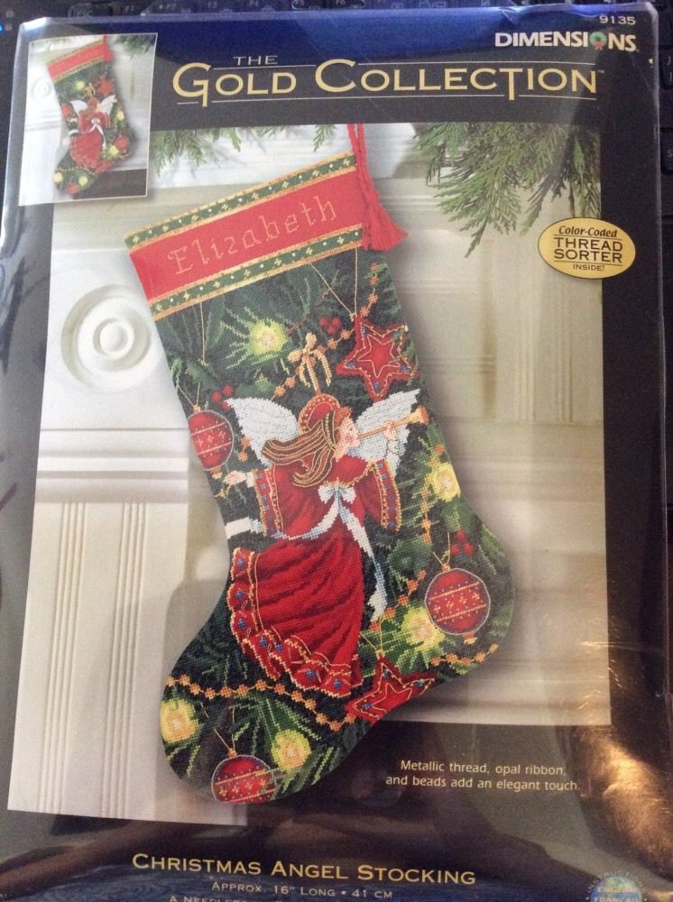 Dimensions Christmas Stocking Kits.Dimensions 9135 Gold Collection Christmas Angel 16