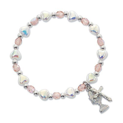 Girls First Communion Stretch Bracelet with Chalice and Crucifix Charms