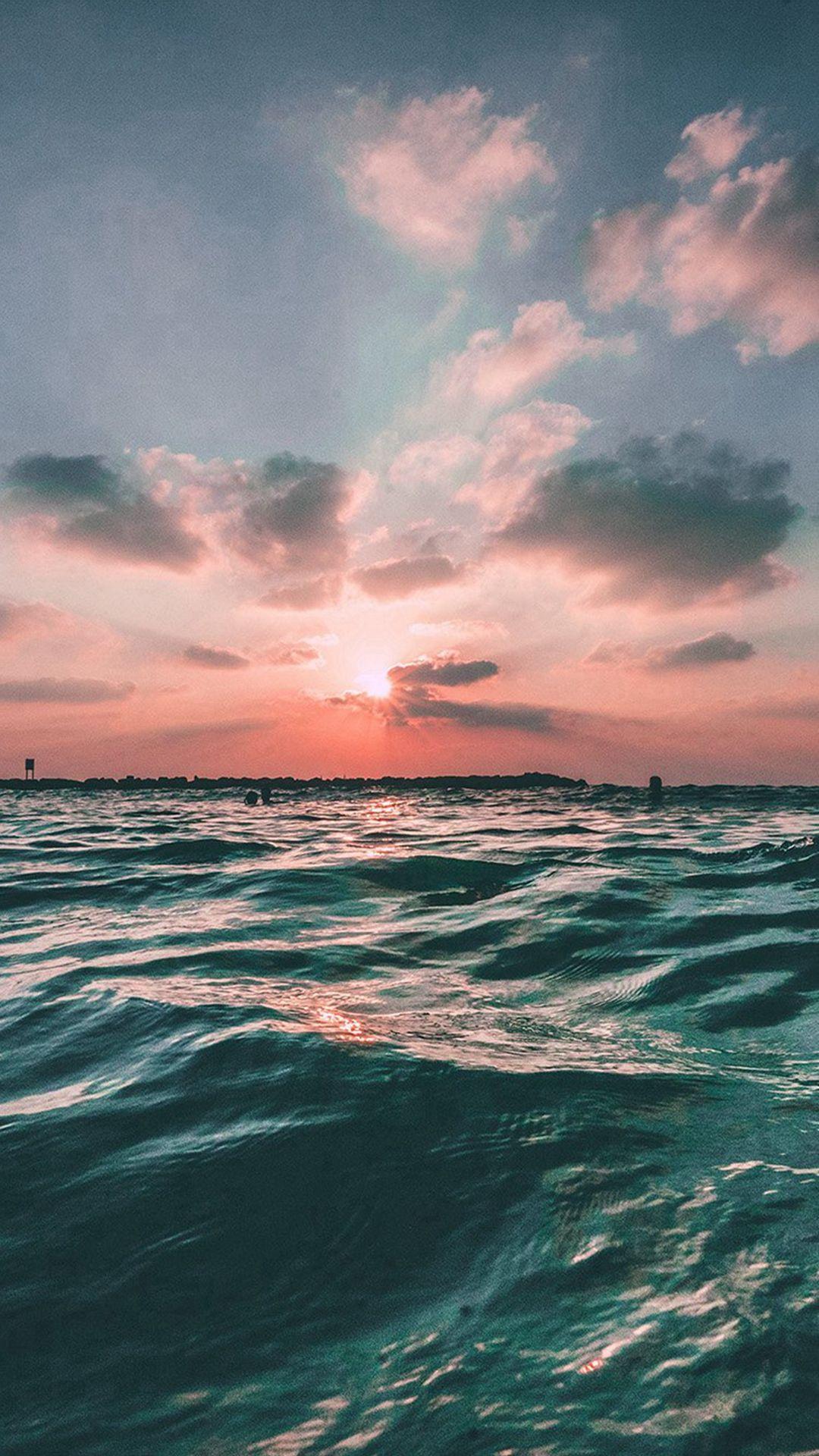 Sunset Sea Sky Ocean Summer Green Water Nature Iphone 6