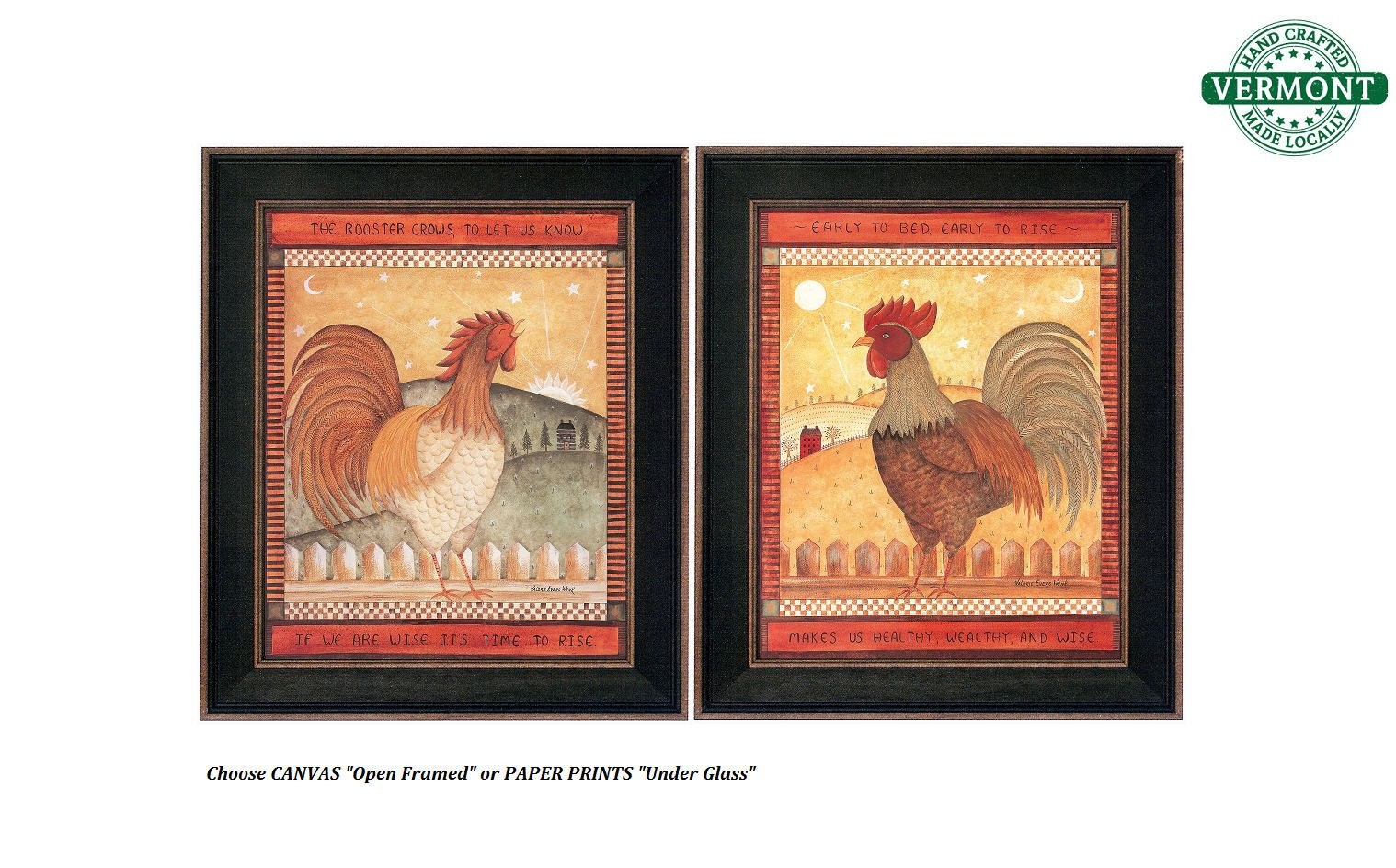 Set of 2 - VINTAGE Framed Rooster Prints, Canvas or Paper, Rustic ...