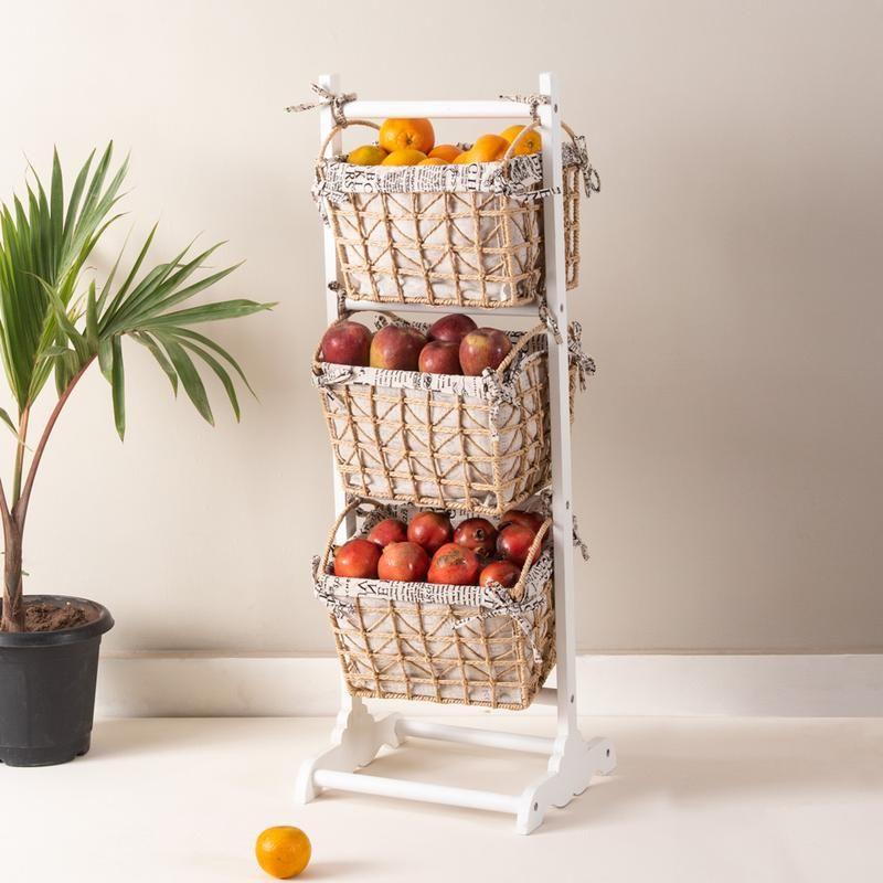 farmhouse 3 tier basket stand