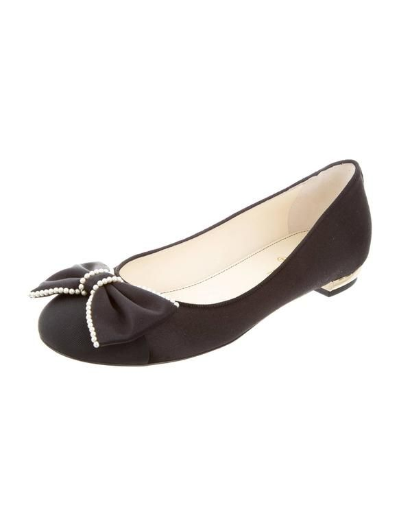 Chanel NEW & SOLD OUT Black Pearl Gold Bow Shoes Flats in Box