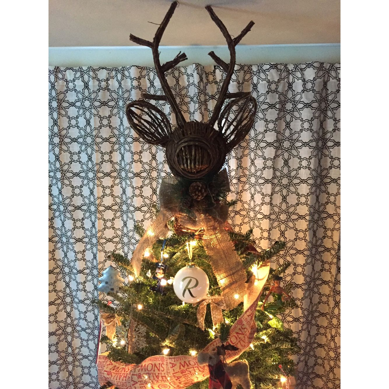 Woodland Themed Christmas Tree This Year Complete With Rustic Deer