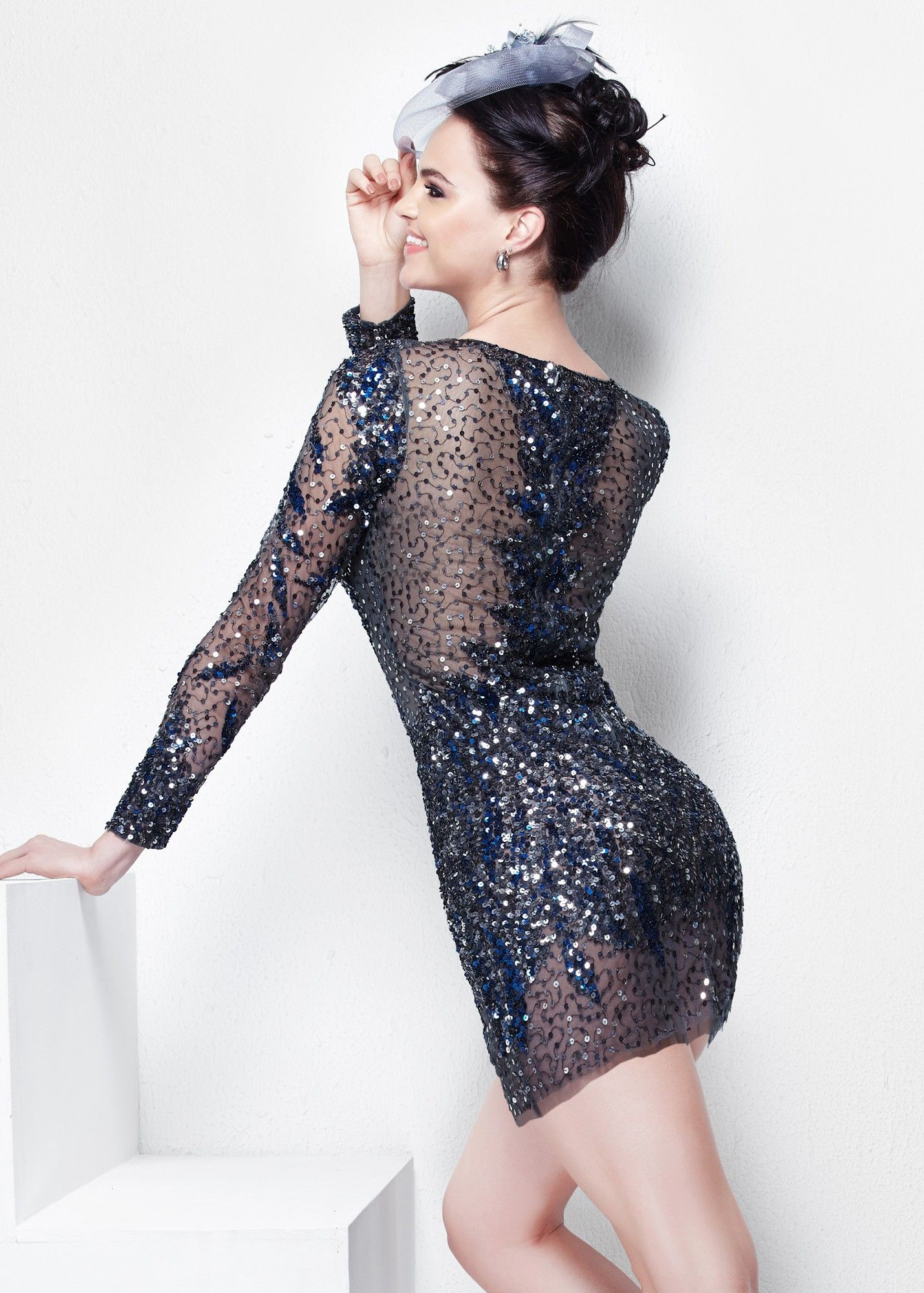 Primavera illusion sequin long sleeve dress