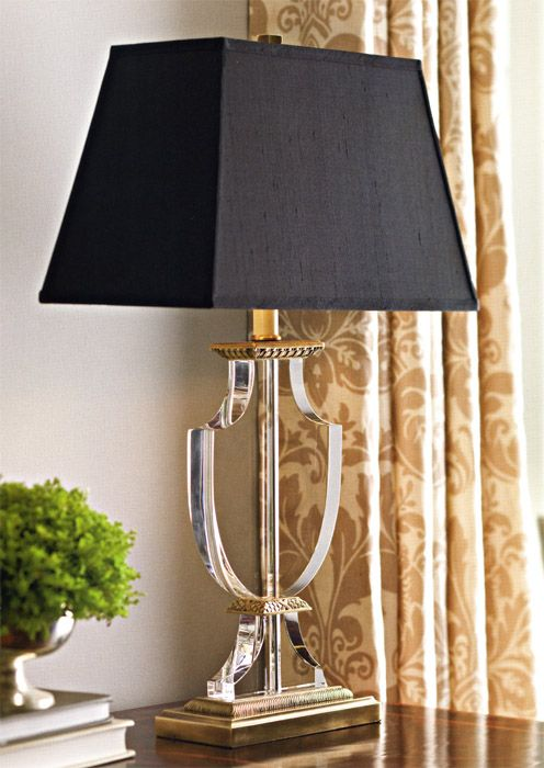 Table Lamp Sparkly Silver Floating Crystal  Choice of Black or White Shade