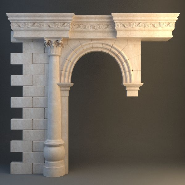 Stone Column And Arch 3D Model