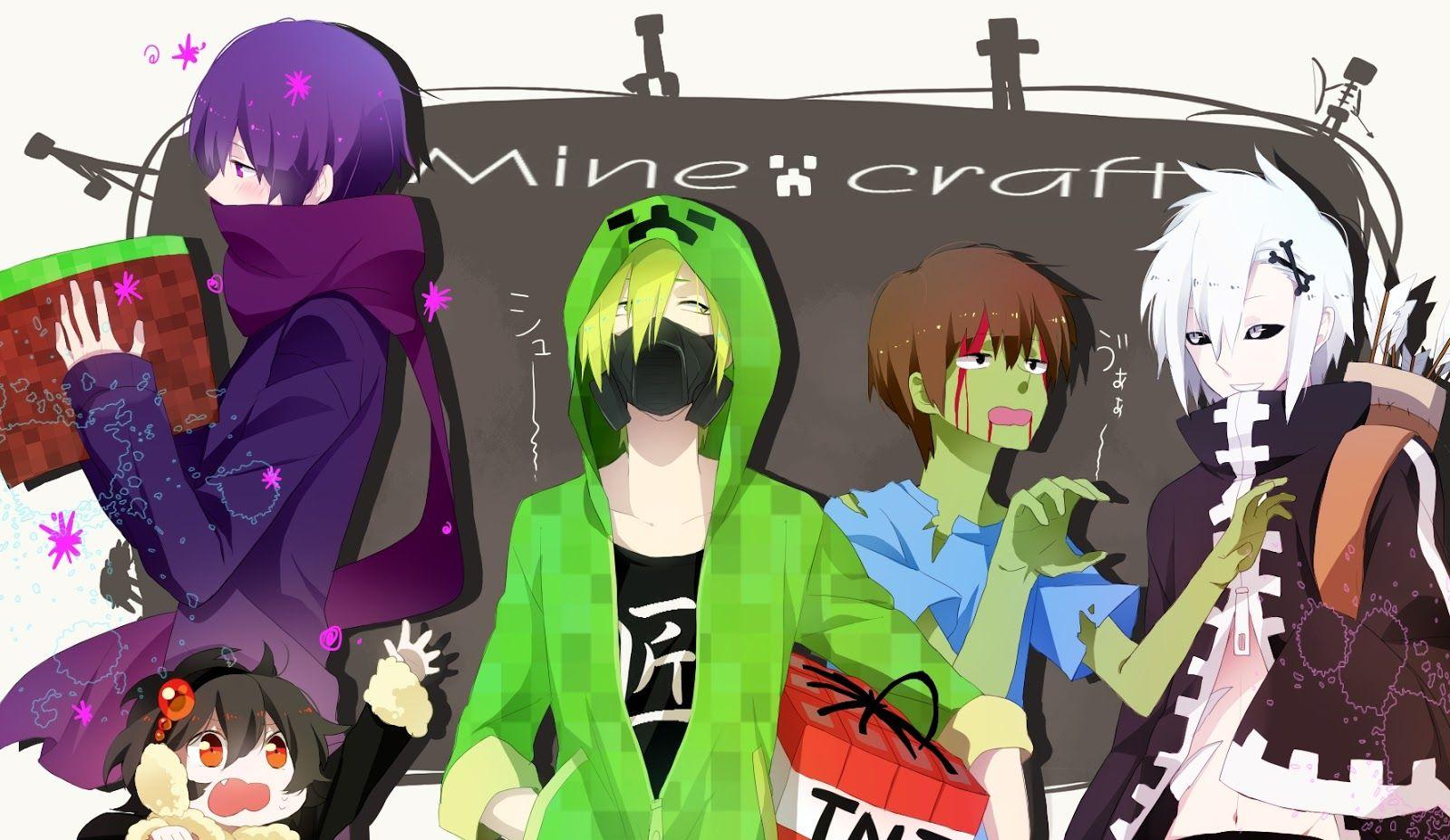 photos of creeper girl and enderman boy kiss Minecraft e