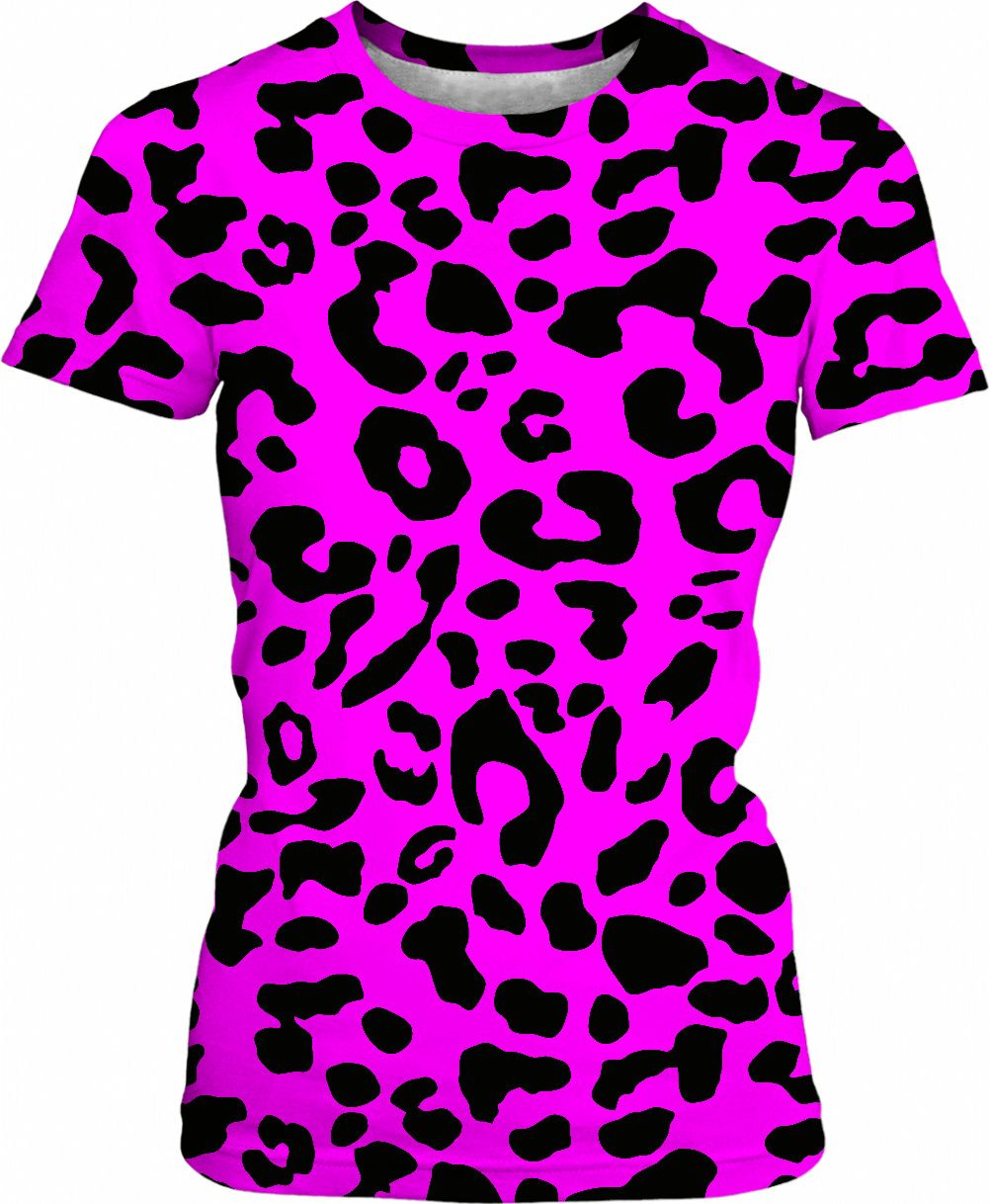 b943edfcaff7 Killer pink leopard t-shirt, womens fit - black asymetric spots pattern at  saturated