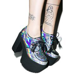 Current Mood Hologram Creep Queen Platforms ($80) ❤ liked on Polyvore featuring shoes, creepers, chunky heel shoes, wide high heel shoes, thick heel shoes, high heel shoes and vegan shoes