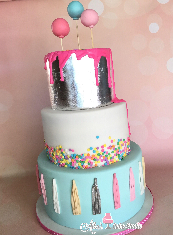 Silver leaf cake. Drip cake. Fun birthday cake. Tassles, sprinkles. Albas's Cake Studio. Brawley, Ca