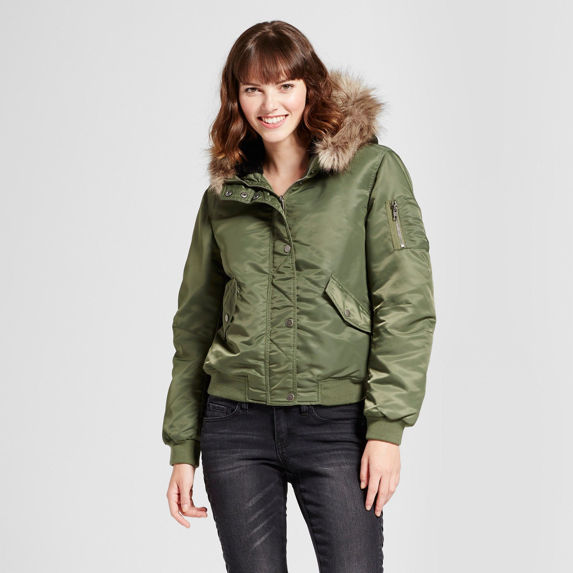 Women's Bomber Puffer Jacket with Faux Fur Hood Mossimo