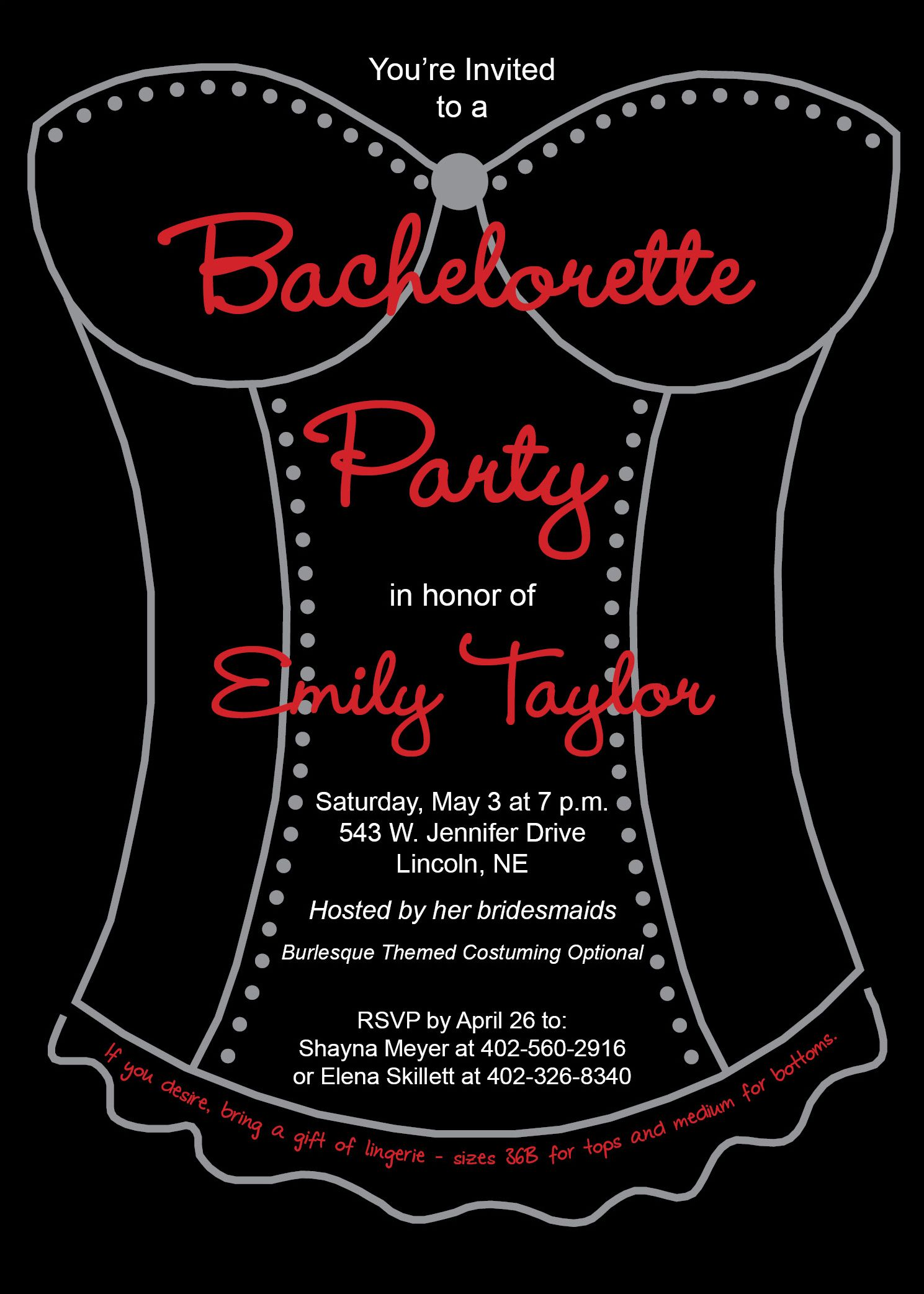 Burlesque Bachelorette Party Invitation